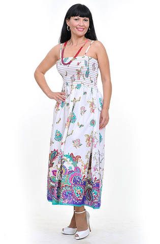 Сарафан  Пл 10034 белый, хлопок,размеры: 44-52, сарафан-юбка в пол, длинная, макси
