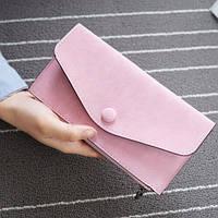 Стильный женский кошелек клатч розового цвета