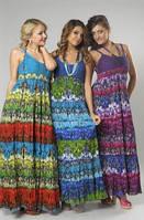 Сарафан женский с вязаным лифом,Пл 10062 , с фиолетовой вязкой, интернет магазин женской одежды.