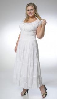 Платье белое из прошвы хлопок 100% большие размеры пл 10068