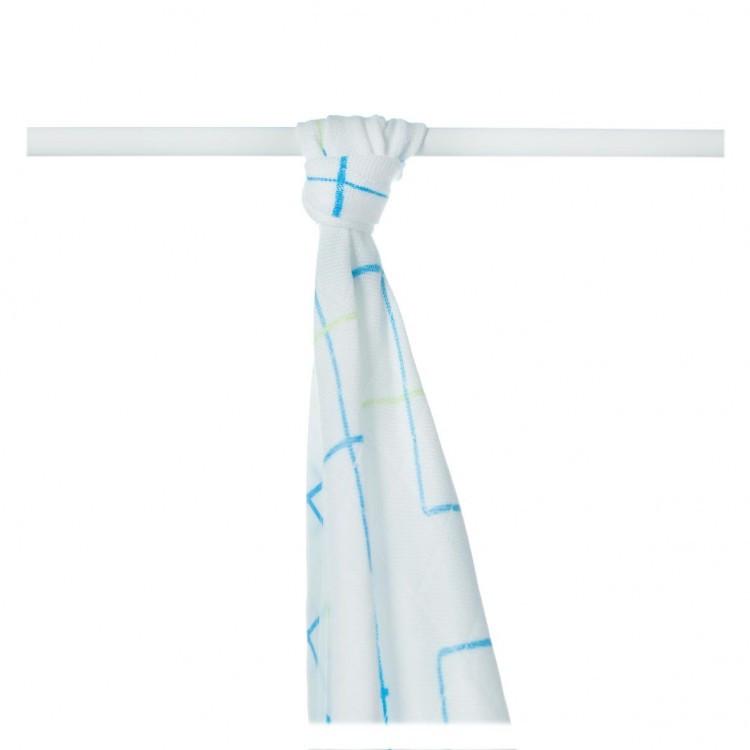 Пеленки бамбуковые  муслиновые XKKO 90x100 двухслойная 1 шт.  Белые с синими квадратами
