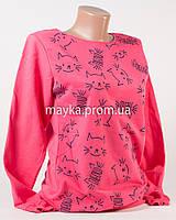Батник женский хлопок p.44-46 малиновый Кот Мяу N1908