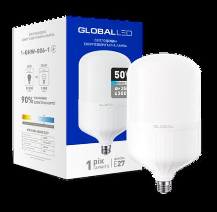 Светодиодная лампа высокомощная GLOBAL 1-GHW-006-1 50W 6500K E27  Код.58279, фото 2
