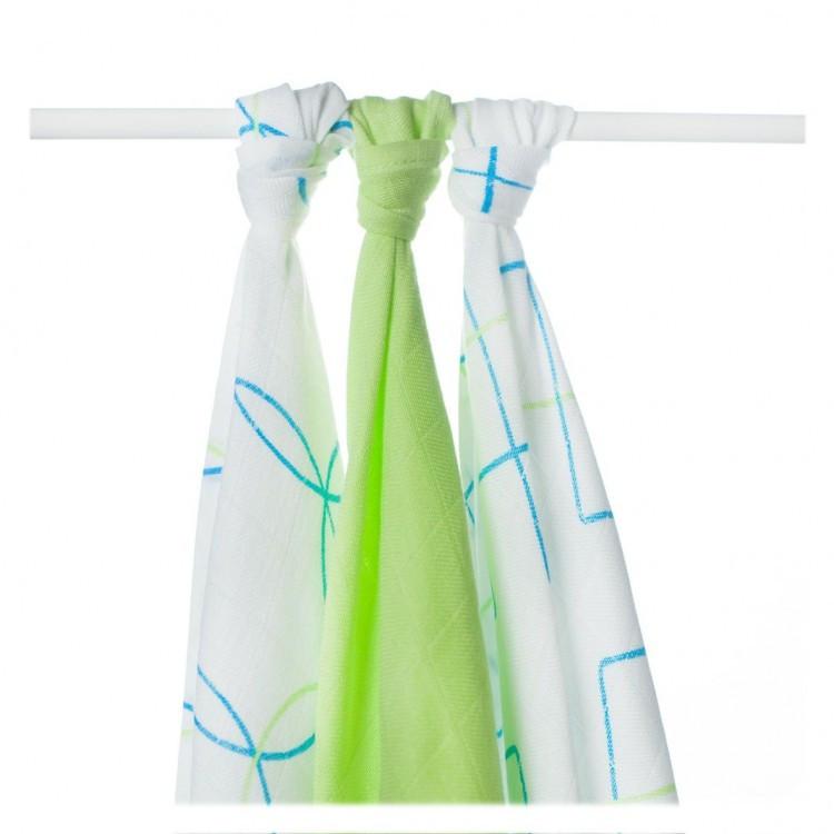 Пеленки бамбуковая, муслиновая XKKO 70x70 двухслойная 3 шт. Голубые круги и квадраты
