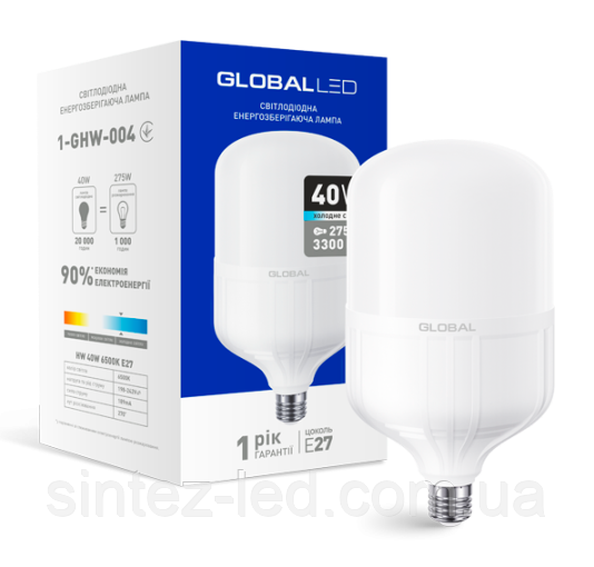Светодиодная лампа высокомощная GLOBAL 1-GHW-004 40W 6500K E27 Код.58280