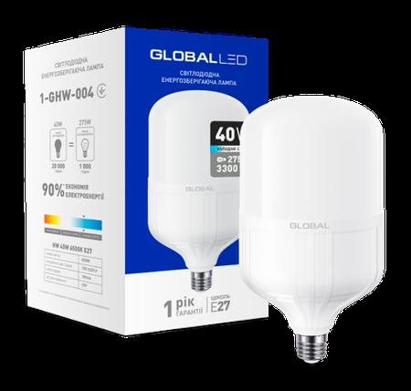 Светодиодная лампа высокомощная GLOBAL 1-GHW-004 40W 6500K E27 Код.58280, фото 2