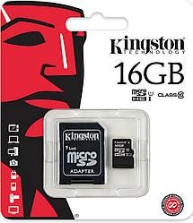 Карта памяти Kingston MicroSDHC 16GB Class 10 + adapter SD