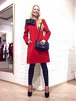 Женское пальто   Rinascimento красное кашемировое