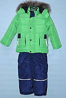 Зимний комбинезон тройка для мальчика 1-4 года КРОШ салатовый