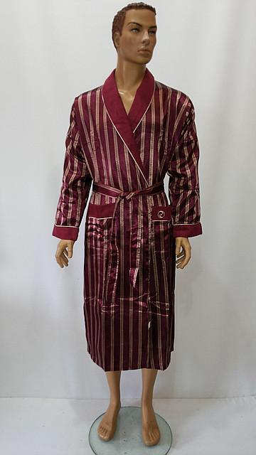 Мужской, натуральный внутри, шелковый снаружи ,халат без капюшона. модель №9015. Производитель Турция, фирма N