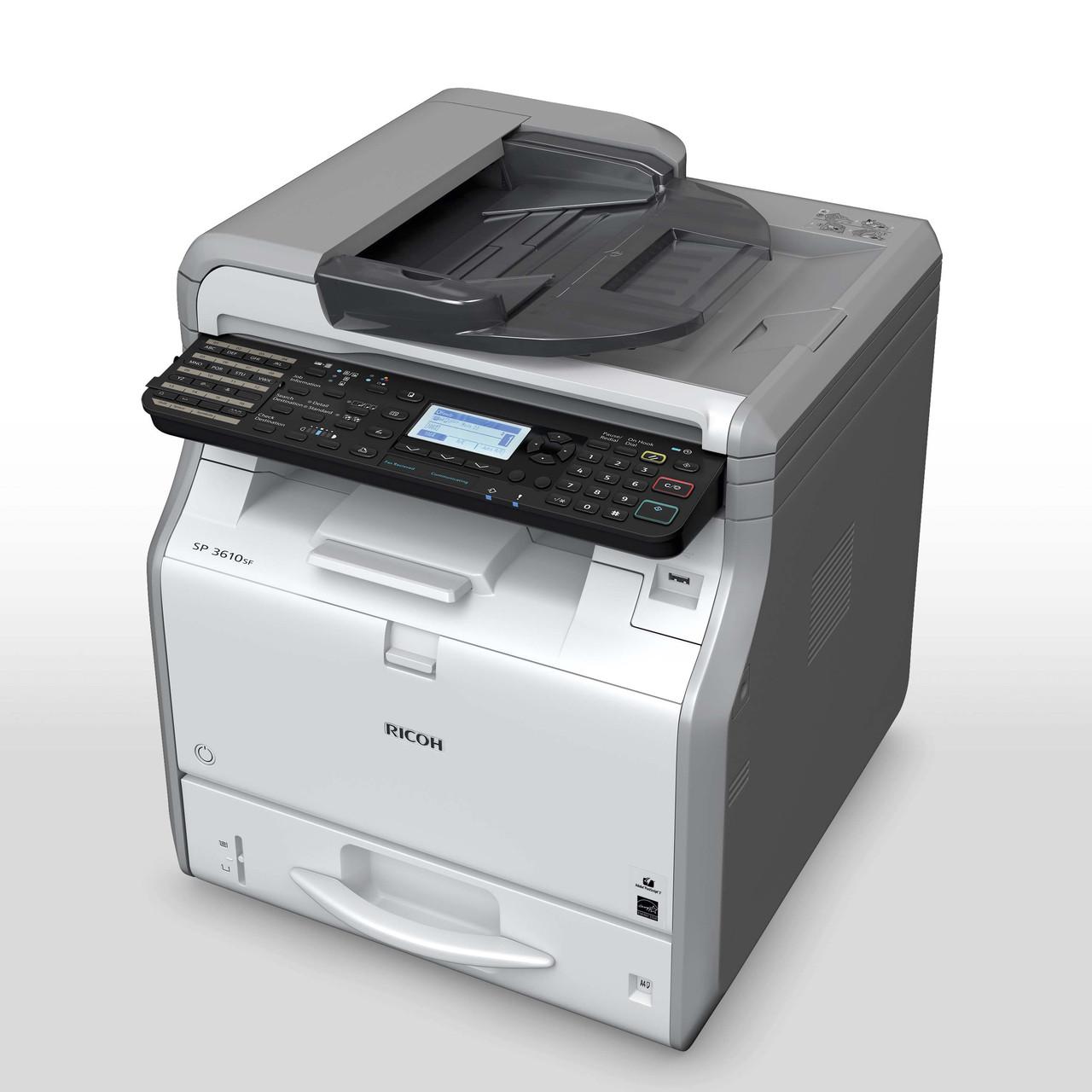 Ricoh SP 3610SF – МФУ А4 формата, 30 стр./мин, сетевой принтер, цветной сканер, копир, факс G3.