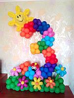 """Цифра """"3"""" - Радуга с солнышком на полянке с цветами из воздушных шаров"""