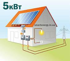 Сетевая солнечная электростанция 5кВт зеленый тариф для дома готовые решения