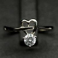 Серебряное кольцо с  цирконом мал. размер
