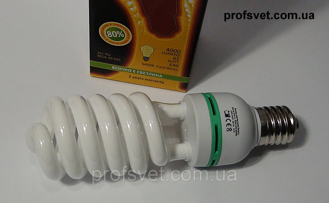 Лампа энергосберегающая 65 вт е40 6400k Реалюкс