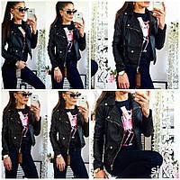 Стильная женская куртка кожанка на подкладке, черный цвет