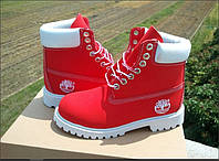 Ботинки Timberland classic waterproof series 10061 натуральная кожа, цвет красный