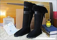 Угги женские высокие натуральная замша черные