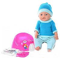 Кукла пупс 8001 голубой Беби Борн, вязанная одежда