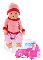 Кукла пупс 8001 розовый Беби Борн, вязанная одежда