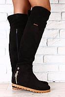 Модные замшевые высокие сапоги на низком ходу. Стиль. Мода.