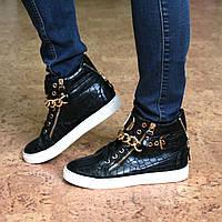 Ботинки женские демисезонные кеды Zanotti черные,  осенняя обувь