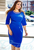 Нарядное платье батал. Цвет синий электрик. Большие размеры.