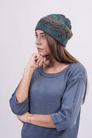 Шапка женская вязаная бирюзовый меланж 3023, фото 1