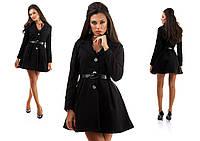 Элегантное кашемировое пальто на пуговицах с расклешенным низом на поясе, черное