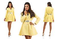 Элегантное кашемировое пальто на пуговицах с расклешенным низом на поясе, лимонное