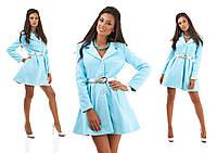 Элегантное кашемировое пальто на пуговицах с расклешенным низом на поясе, голубое