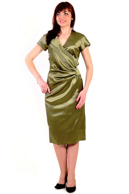 Платье женское с драпировкой  коктейль олива 103-1