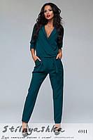 Женский модный комбинезон брюками изумруд