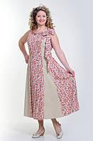 Сарафан женский для женщин плотного телосложения, пл 109, штапель ,лен, хлопок, длинный, 50,52,54,56