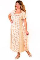 Платье на полную фигуру, с цветочным принтом , пл 109-1, штапель, лен.