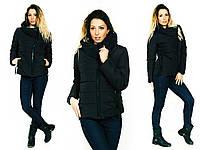 Стильная женская демисезонная куртка водонепроницаемая плащевка, черная