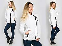 Стильная женская демисезонная куртка водонепроницаемая плащевка, белая