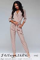 Женский модный комбинезон брюками беж