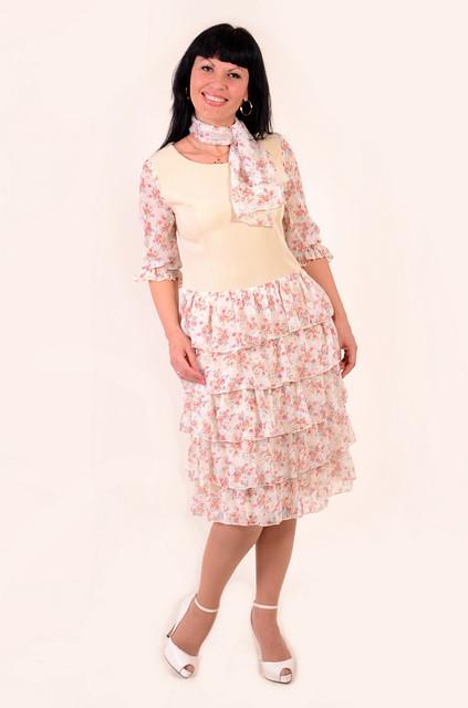 Платье женское в романтическом стиле , Пл 130-1, большие размеры , шифон.