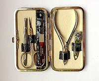 Набор инструментов для маникюра GLOBOS 1120-7 в кожаном футляре