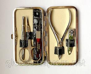 Набор инструментов для маникюра GLOBOS 1120-7 в кожаном футляре, фото 2
