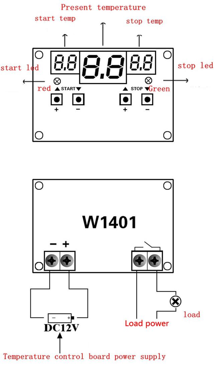 Терморегулятор с индикацией 12 В. 9…99 С, с настройки гестерезиса и контролем нагрева и охлаждения