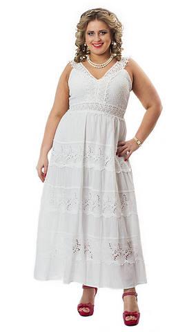 Сарафан женский, с кружевом  прошва, на подкладке, хлопок, длинный, 48,50,52,54,56, ПЛ 13055