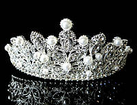 Диадема корона на обруче с гребешками, высота 5 см