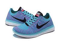 Женские кроссовки Nike Free Run Flyknit Blue, фото 1