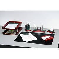 Подарочный набор настольный из дерева и зеленого мрамора BESTAR 6287WDM красное дерево (6 предметов)
