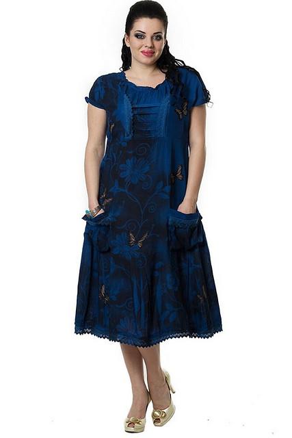 Платье женское с бабочками, хлопок,50,52,54,56 ,пл 13110,по колено.