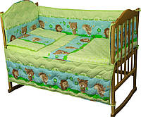 Комплект постельного белья + бортик в детскую кроватку Руно бязь Ежик салатовый
