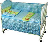 Комплект постельного белья + бортик в детскую кроватку Руно бязь Ежик голубой