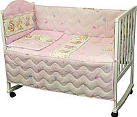 Комплект постельного белья + бортик в детскую кроватку Руно бязь Мышка с сыром розовый